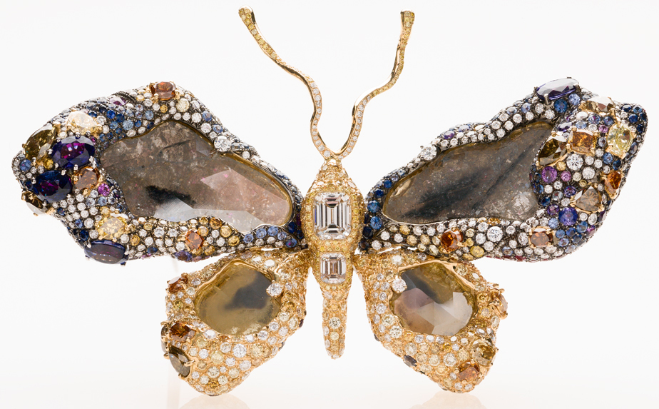 Numerous jewels fashioned in the shape of a butterfly for jewelry