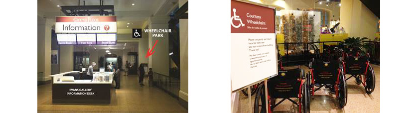 One image showing the information desk on the Ground Floor, with an arrow pointing to the wheelchair park. A second image shows the wheelchairs.